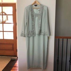 Wedgewood green long dress with jacket